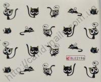 """Водная наклейка для дизайна ногтей """"Кошки"""" BLE-2196"""