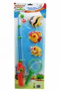 """Рыбалка пластиковая """"Хорошего клёва"""" (3 магнитные рыбки, 1 сачок, 1 удочка)"""