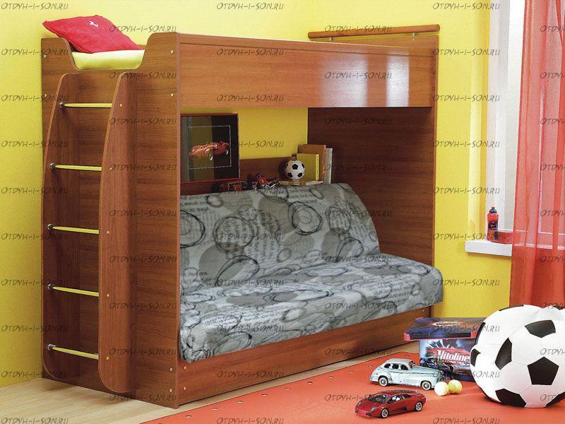 Кровать 2-х ярусная клик-клак с матрацем корич/виш
