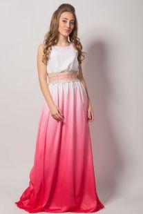 Елегантна вечерна рокля от шифон в преливащи се цветове